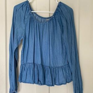 Charlotte Russe Chambray Flowy Top Sz L